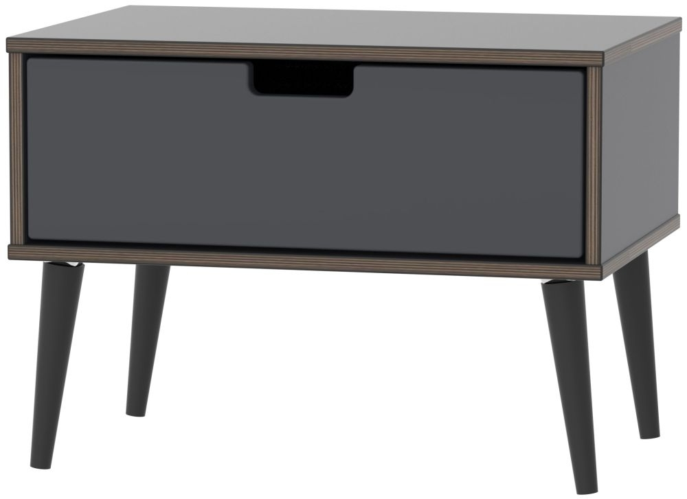 Shanghai Graphite 1 Drawer Midi Chest with Wooden Legs