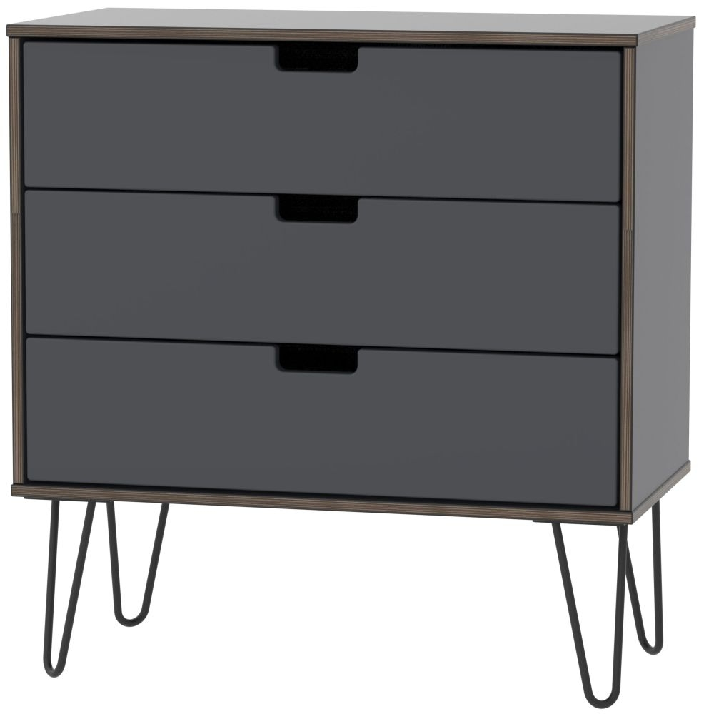 Shanghai Graphite 3 Drawer Midi Chest with Hairpin Legs