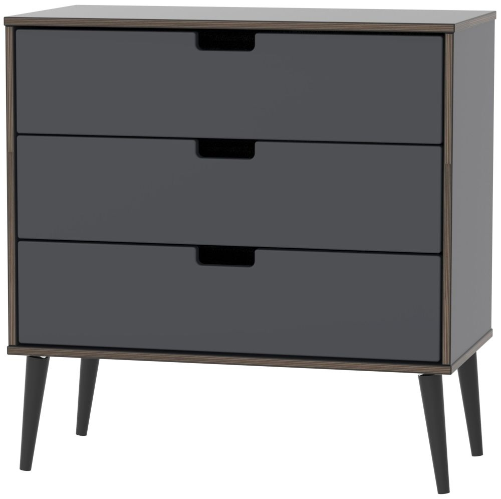 Shanghai Graphite 3 Drawer Midi Chest with Wooden Legs