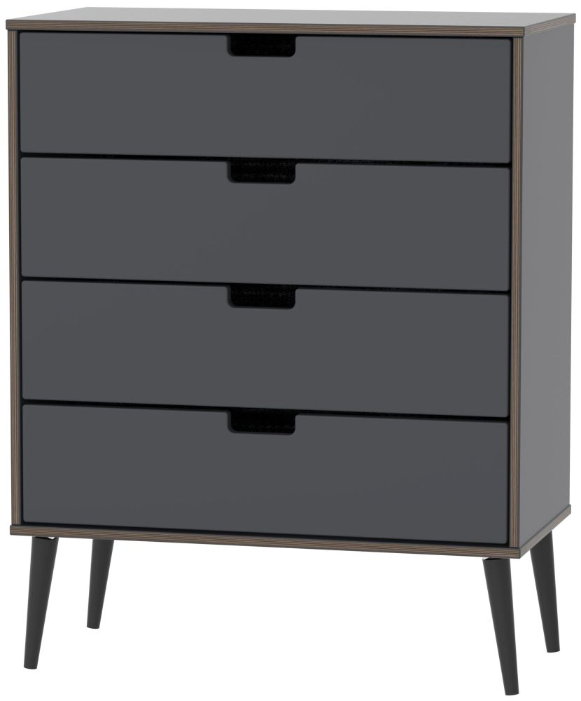 Shanghai Graphite 4 Drawer Chest with Wooden Legs