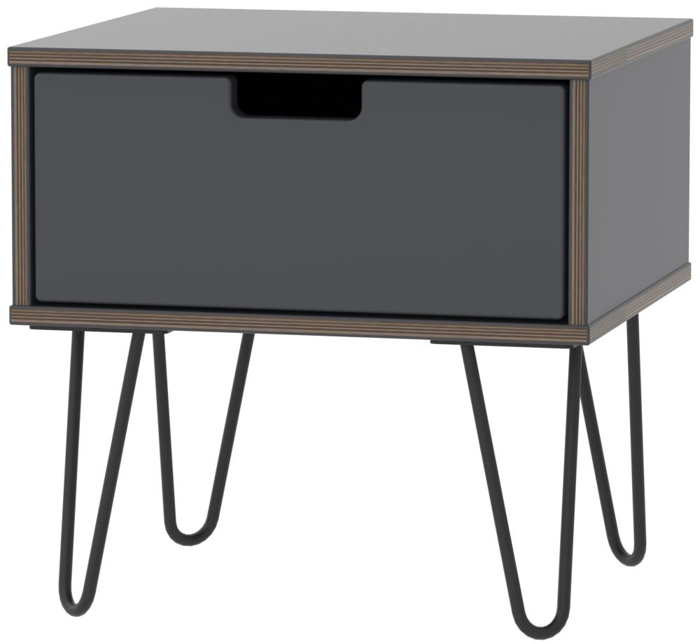 Shanghai Graphite 1 Door Bedside Cabinet with Hairpin Legs