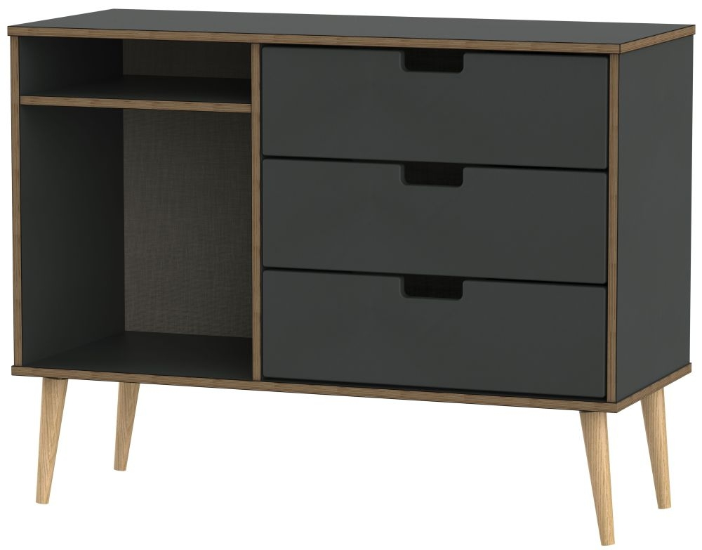 Shanghai Graphite 3 Drawer TV Unit with Natural Legs