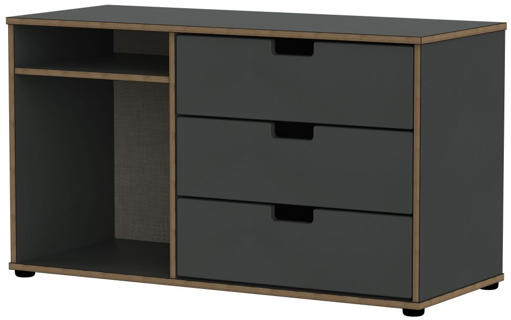 Shanghai Graphite 3 Drawer TV Unit with Plastic Legs