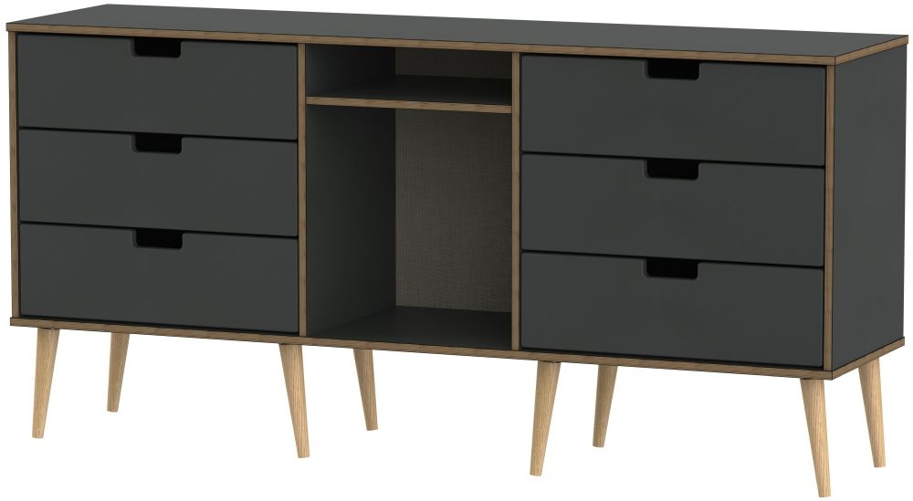 Shanghai Graphite 6 Drawer TV Unit with Natural Legs