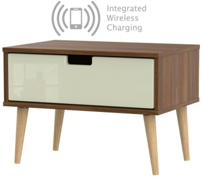 Shanghai 1 Drawer Bedside Cabinet with Natural Legs and Integrated Wireless Charging - High Gloss Cream and Noche Walnut
