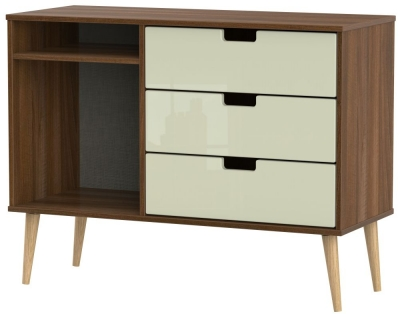 Shanghai 3 Drawer TV Unit with Natural Legs - High Gloss Cream and Noche Walnut