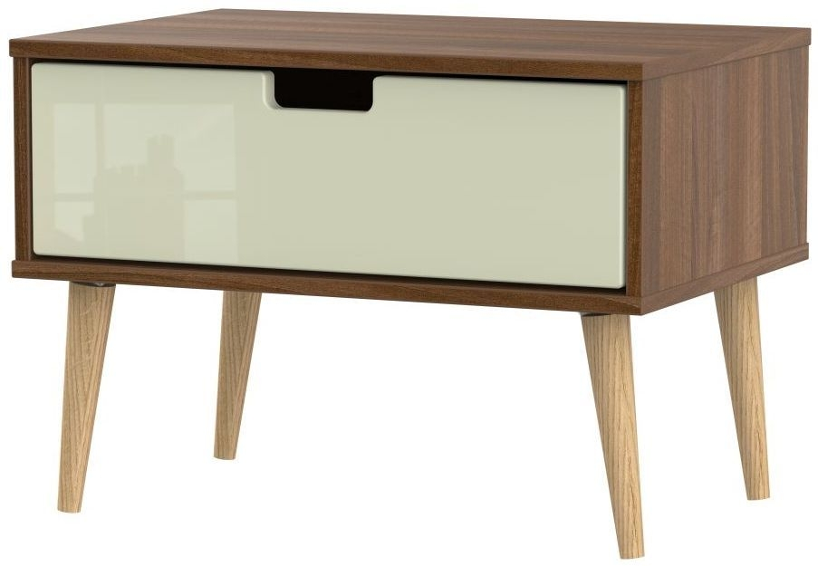 Shanghai 1 Drawer Bedside Cabinet with Natural Legs - High Gloss Cream and Noche Walnut