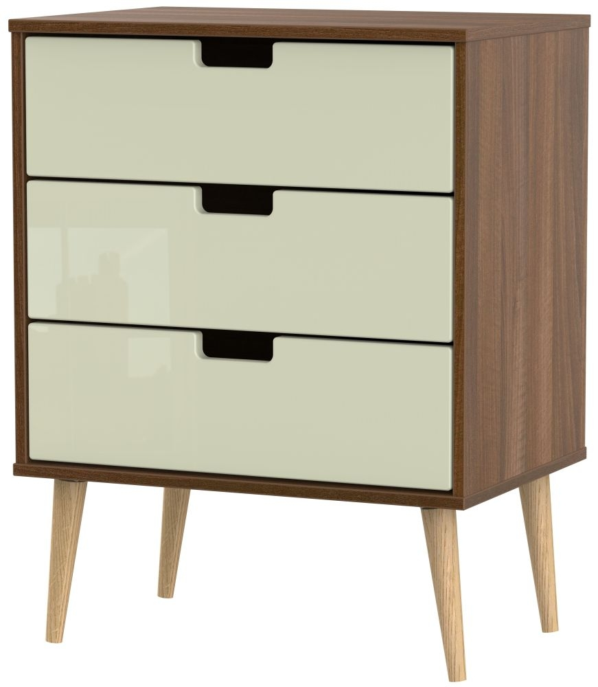 Shanghai 3 Drawer Midi Chest with Natural Legs - High Gloss Cream and Noche Walnut