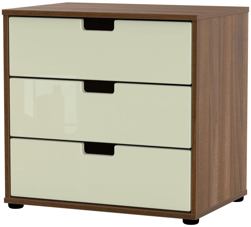 Shanghai 3 Drawer Midi Chest with Plastic Legs - High Gloss Cream and Noche Walnut