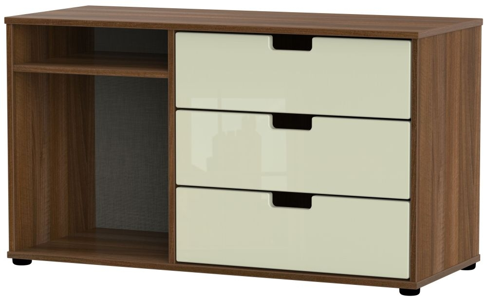 Shanghai 3 Drawer TV Unit with Plastic Legs - High Gloss Cream and Noche Walnut