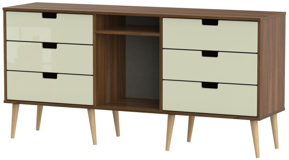 Shanghai 6 Drawer TV Unit with Natural Legs - High Gloss Cream and Noche Walnut