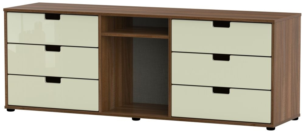 Shanghai 6 Drawer TV Unit with Plastic Legs - High Gloss Cream and Noche Walnut