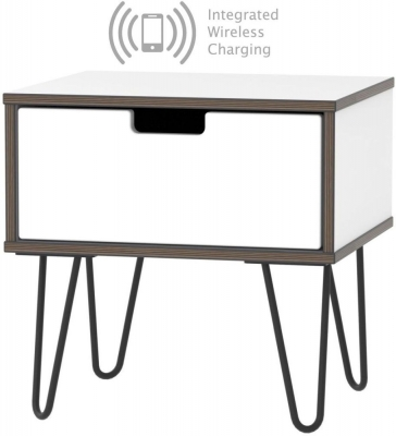 Shanghai High Gloss White 1 Drawer Bedside Cabinet with Hairpin Legs and Integrated Wireless Charging