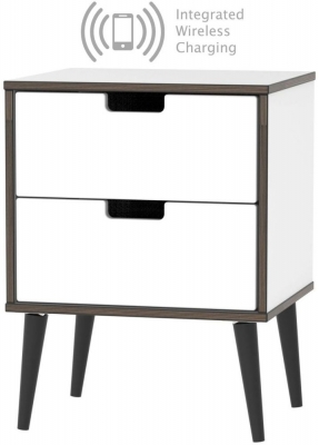 Shanghai High Gloss White 2 Drawer Bedside Cabinet with Wooden Legs and Integrated Wireless Charging