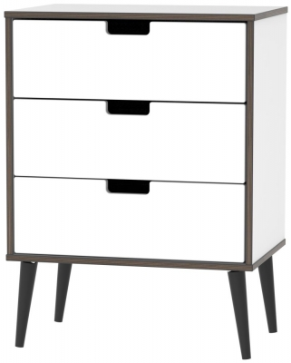 Shanghai High Gloss White 3 Drawer Chest with Wooden Legs