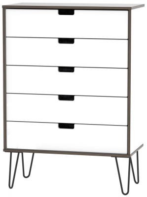 Shanghai High Gloss White 5 Drawer Chest with Hairpin Legs
