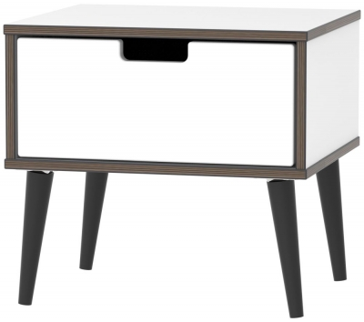 Shanghai High Gloss White 1 Drawer Bedside Cabinet with Wooden Legs