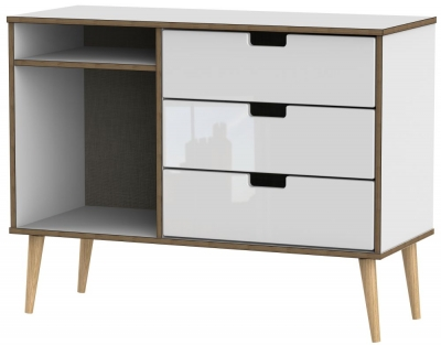 Shanghai High Gloss White 3 Drawer TV Unit with Natural Legs