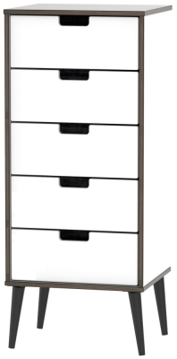 Shanghai High Gloss White Tall Bedside Cabinet with Wooden Legs