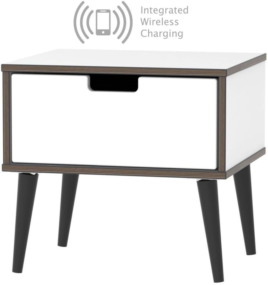 Shanghai High Gloss White 1 Drawer Bedside Cabinet with Wooden Legs and Integrated Wireless Charging