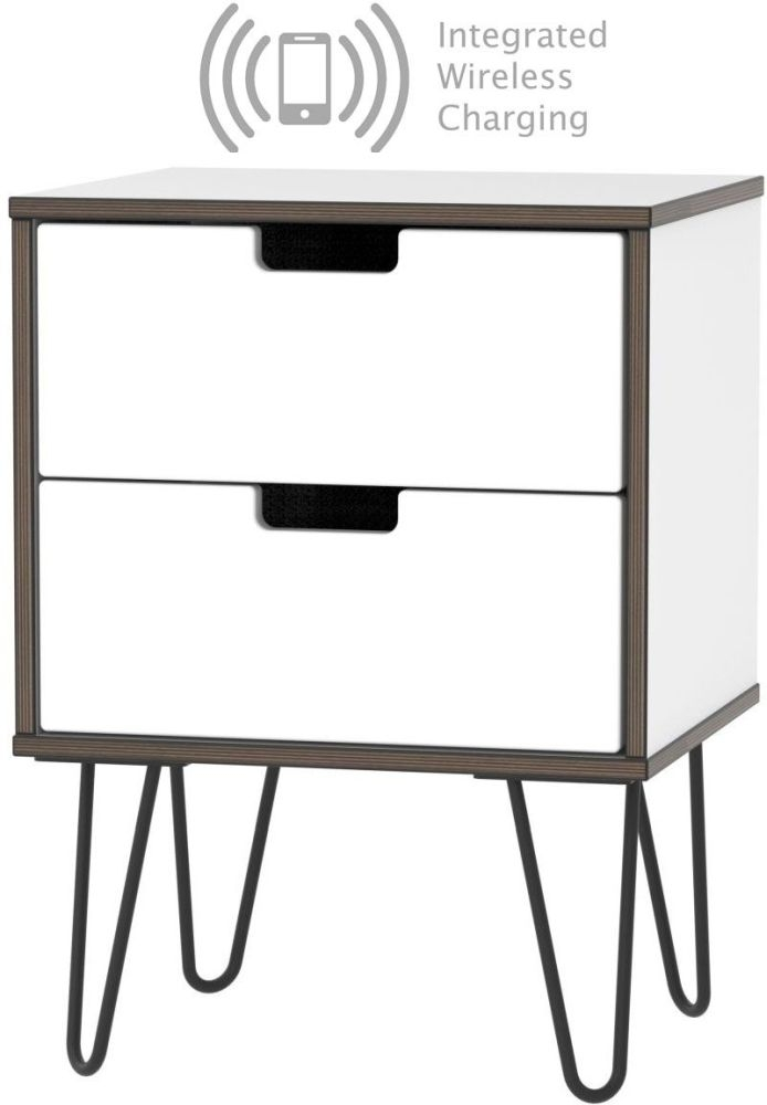Shanghai High Gloss White 2 Drawer Bedside Cabinet with Hairpin Legs and Integrated Wireless Charging