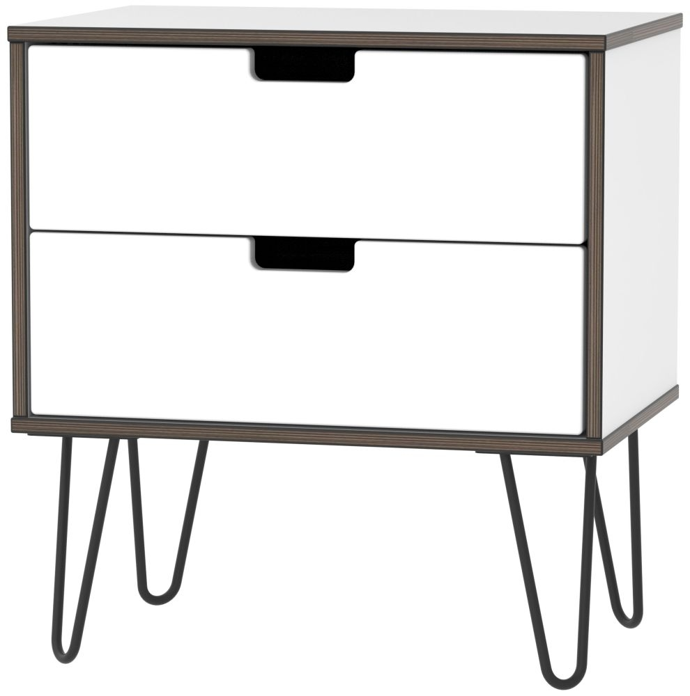 Shanghai High Gloss White 2 Drawer Midi Chest with Hairpin Legs