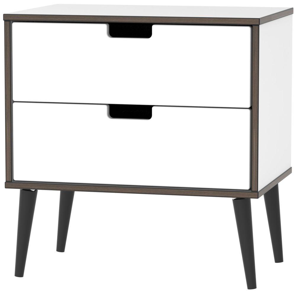 Shanghai High Gloss White 2 Drawer Midi Chest with Wooden Legs