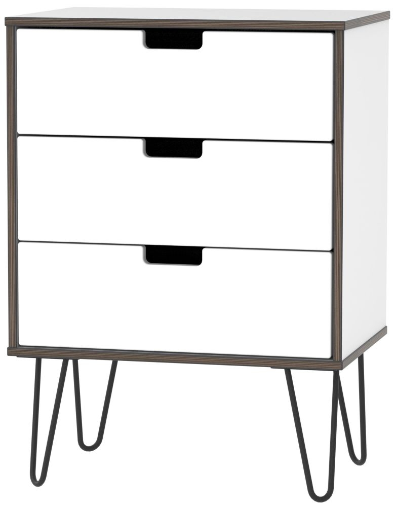 Shanghai High Gloss White 3 Drawer Chest with Hairpin Legs