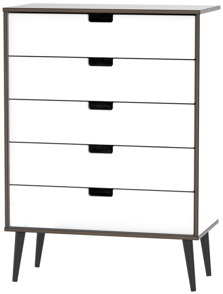 Shanghai High Gloss White 5 Drawer Chest with Wooden Legs