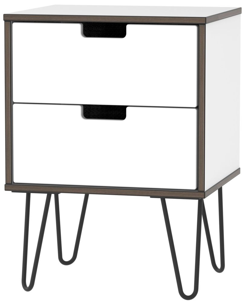 Shanghai High Gloss White 2 Drawer Bedside Cabinet with Hairpin Legs