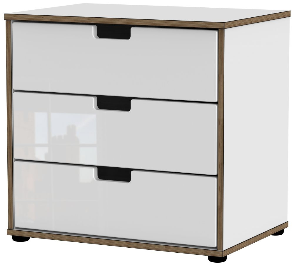 Shanghai High Gloss White 3 Drawer Midi Chest with Plastic Legs