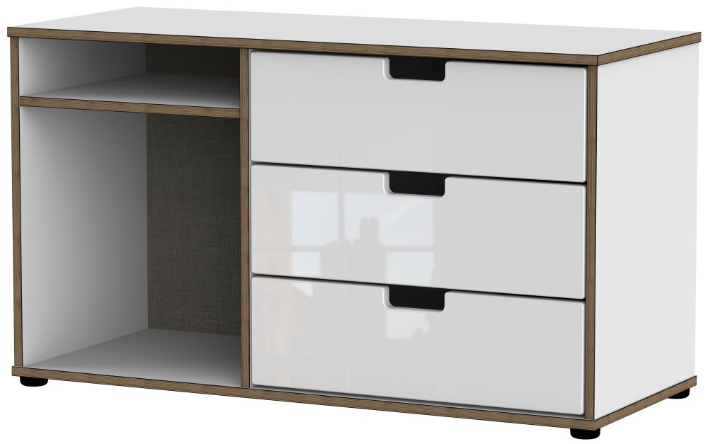 Shanghai High Gloss White 3 Drawer TV Unit with Plastic Legs