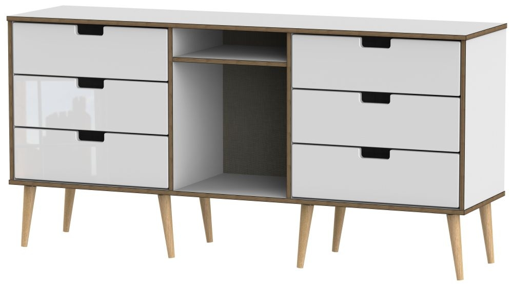 Shanghai High Gloss White 6 Drawer TV Unit with Natural Legs