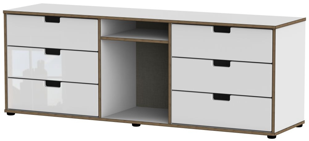 Shanghai High Gloss White 6 Drawer TV Unit with Plastic Legs