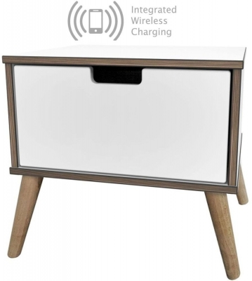 Shanghai White 1 Drawer Bedside Cabinet with Natural Legs and Integrated Wireless Charging