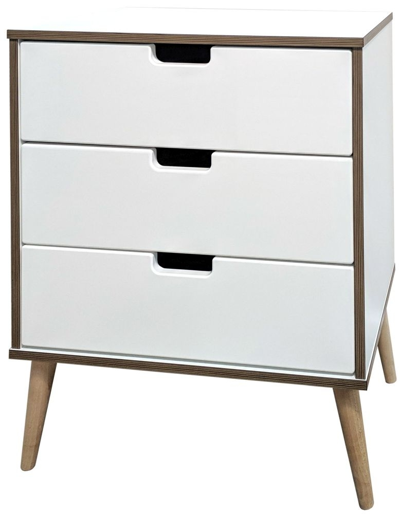 Shanghai White 3 Drawer Midi Chest with Natural Legs