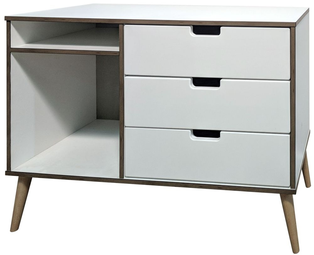 Shanghai White 3 Drawer TV Unit with Natural Legs