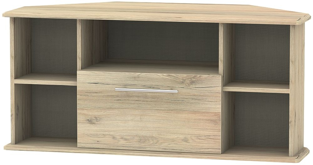 Sherwood Bordeaux Oak 1 Drawer Corner TV Unit