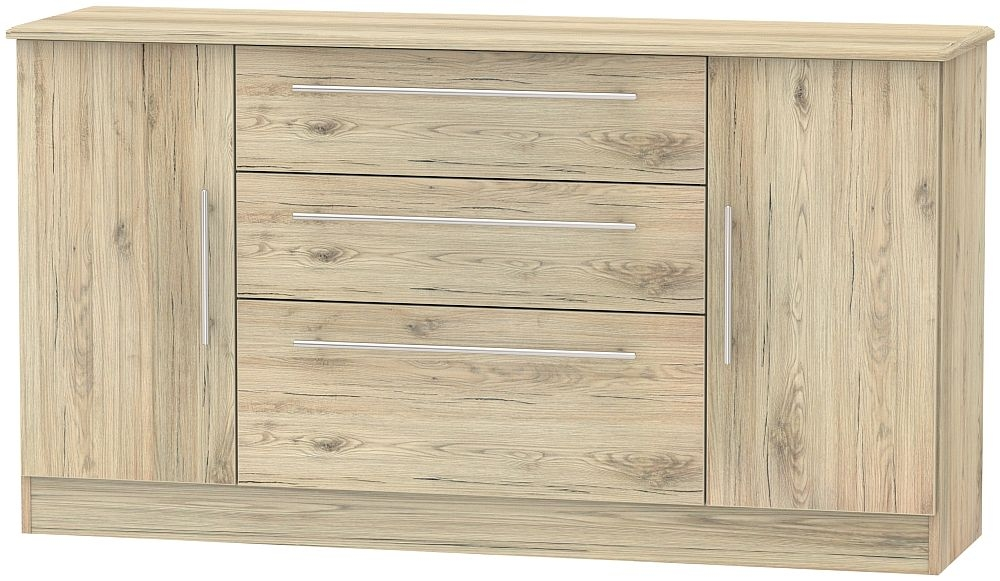 Sherwood Bordeaux Oak 2 Door 3 Drawer Wide Sideboard