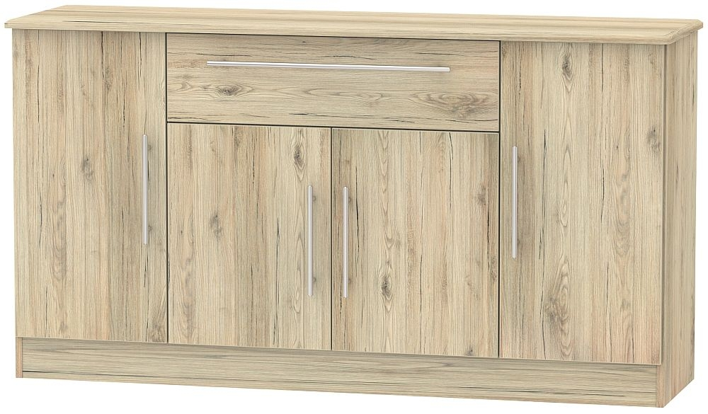 Sherwood Bordeaux Oak 4 Door 1 Drawer Wide Sideboard
