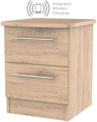 Sherwood Bordeaux Oak 2 Drawer Bedside Cabinet with Integrated Wireless Charging