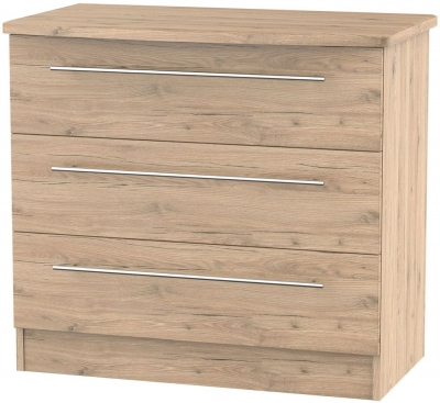 Sherwood Bordeaux Oak 3 Drawer Chest
