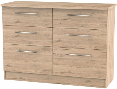 Sherwood Bordeaux Oak Chest of Drawer - 6 Drawer Midi
