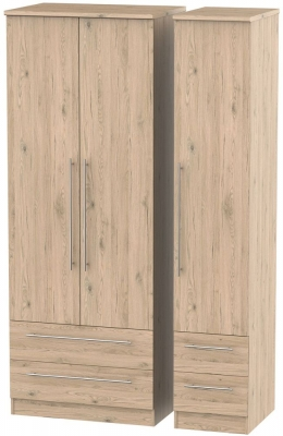 Sherwood Bordeaux Oak 3 Door 4 Drawer Tall Wardrobe