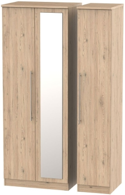 Sherwood Bordeaux Oak 3 Door Tall Mirror Wardrobe