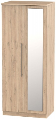 Sherwood Bordeaux Oak 2 Door Mirror Wardrobe