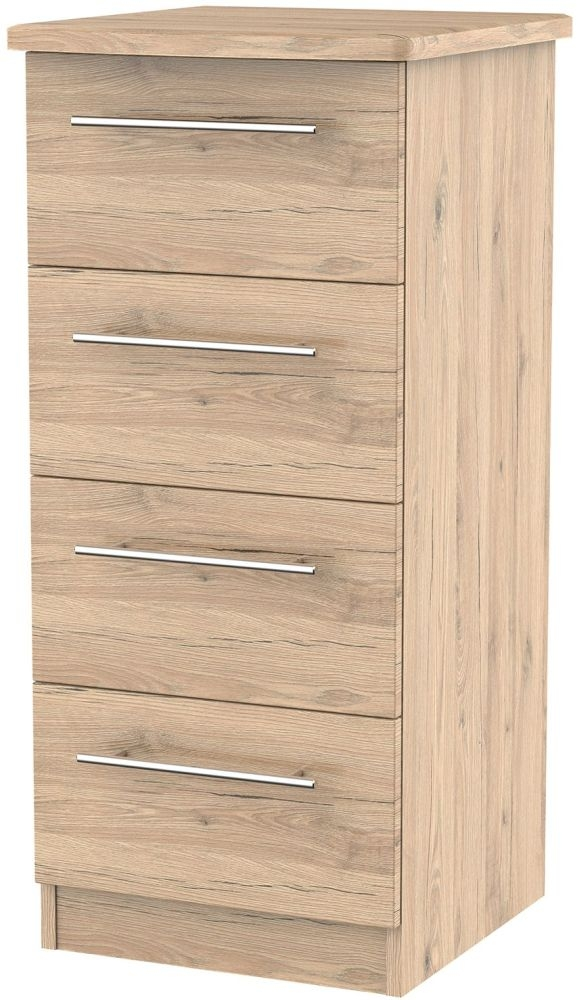 Sherwood Bordeaux Oak Chest of Drawer - 4 Drawer Locker