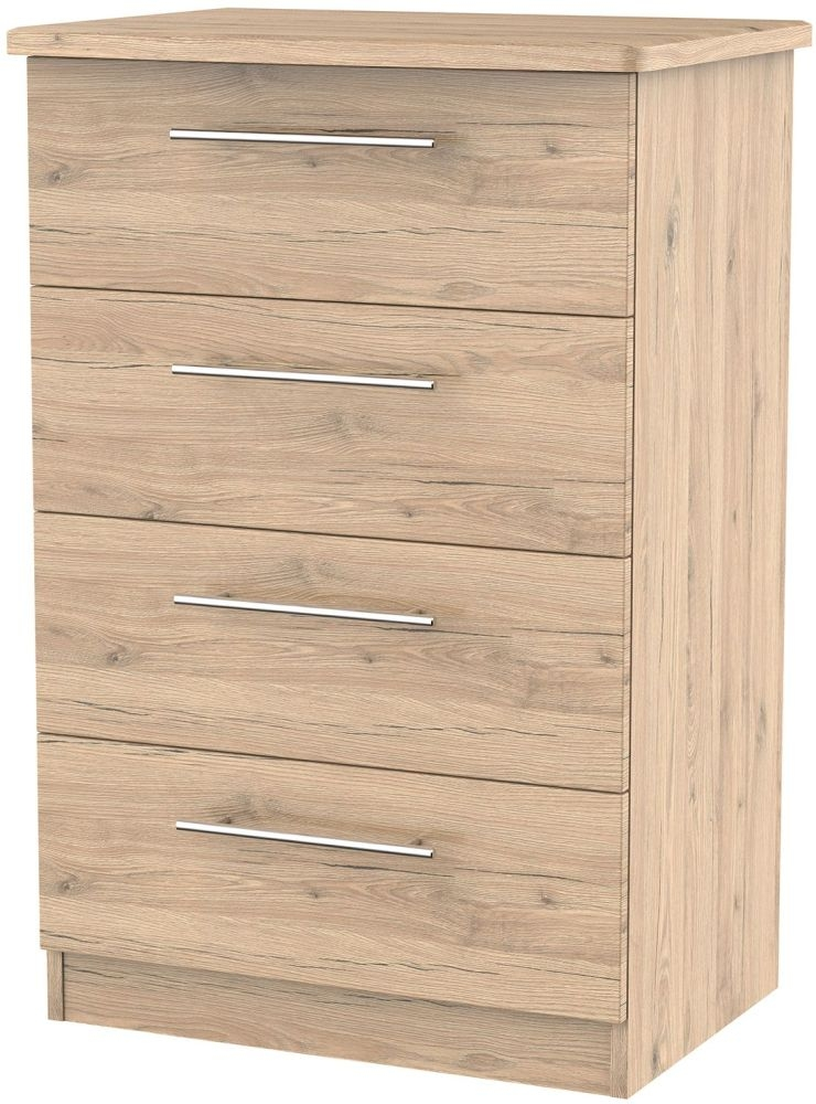 Sherwood Bordeaux Oak Chest of Drawer - 4 Drawer Midi