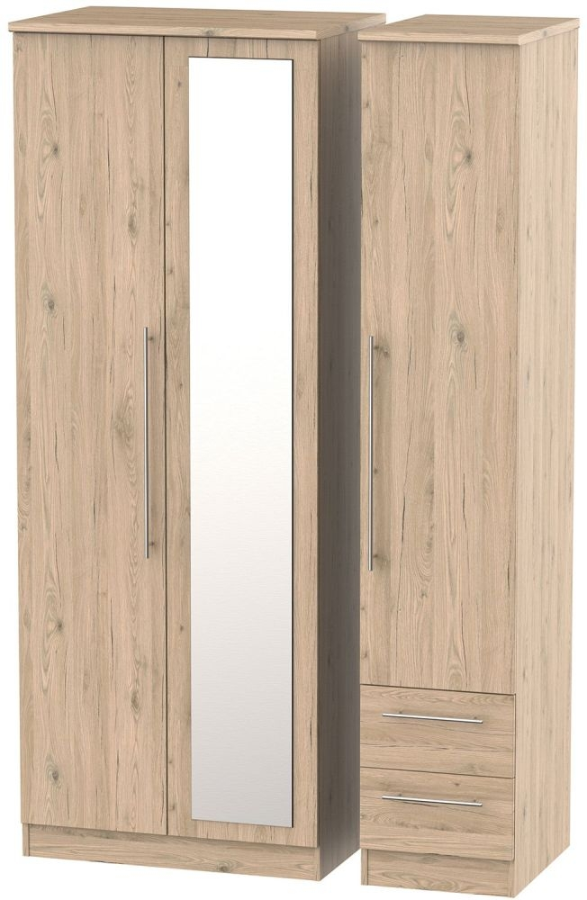 Sherwood Bordeaux Oak Triple Wardrobe - Tall 2 Drawer and Mirror