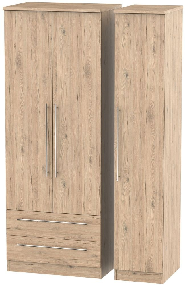 Sherwood Bordeaux Oak Triple Wardrobe - Tall with 2 Drawer